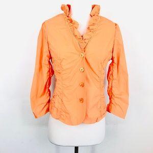 Etcetera Orange Ruffle Button Down Shirt Ruched